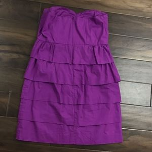 J. Crew Sz 10 Purple Poplin Brynn Strapless Dress